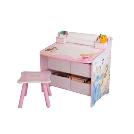 Disney Princess Art Table with Paper Roll, Wipe Board and Storage