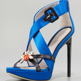 JASON WU - Marisa Jeweled Platform Sandal Blue
