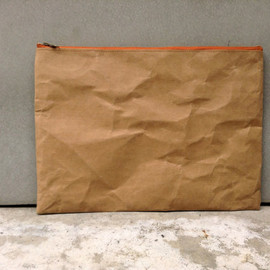 "Belltastudio - Kraft fabric paper clutch 10"" x 14"" zipper,A4 paper,Laptop"