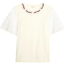 Giambattista Valli - Guipure lace-trimmed embellished cotton-jersey top