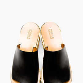 CHLOE - BLACK LEATHER & CORK NAIM PLATFORM MULES