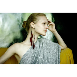 Anni Jurgenson - black dangle feather ear cuff