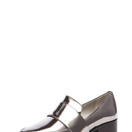 3.1 Phillip Lim - Quinn Metallic Leather Loafer in Gunmetal