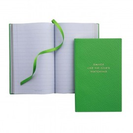 SMYTHON - 'DANCE LIKE NO ONE'S WATCHING' Panama Notebook in Green - Smythson -