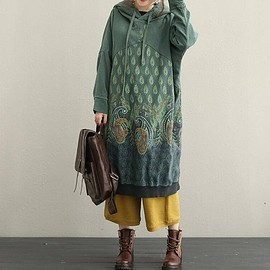 loose fitting dress - cotton Long hooded Dresses winter T-shirt dress bottoming Dresses boho dress