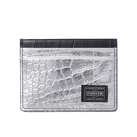 "HEAD PORTER - ""CROCO"" PASS CASE BLACK/SILVER"