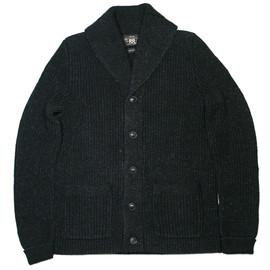 RRL - BLACK INDIGO COTTON KNIT SHAWL CARDIGAN