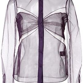 Mary Katrantzou - cut-off detailing sheer shirt