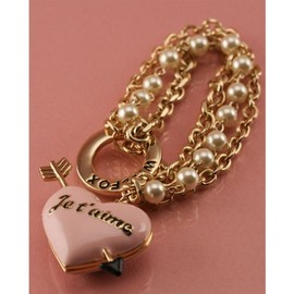 WILDFOX - 10K GOLD CHAIN BRACELET W/ HEART LOCKET & PEARLS WFB0011