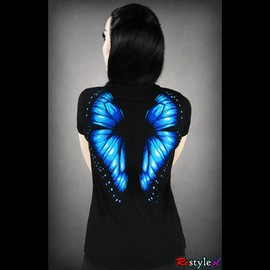 RESTYLE - T-SHIRT-BLUE BUTTERFLY WINGS ON THE BACK
