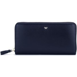 ANYA HINDMARCH - Large Zip Round Wallet  Navy High Shine Leather 財布