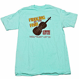 VINTAGE - Vintage 1991 Fiddling at The Sonoma County Fair Teal Shirt Made in USA Mens Size Large (Slim Fit)