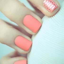 coral #nails silver stripe