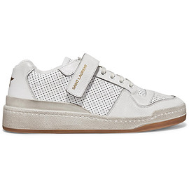 SAINT LAURENT - SS2019 Travis logo-print distressed perforated leather sneakers