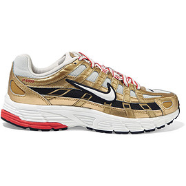 NIKE - P-6000 metallic leather and mesh sneakers