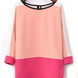 Pink Red Long Sleeve Dipped Hem Chiffon Blouse