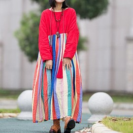 Loose Fitting Red Dress - Winter Dresses, Loose Fitting Red Dress, Dress for women, long Winter robes