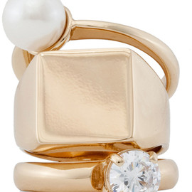 Maison Martin Margiela - Triple Stack Ring with Pearl in Gold Cream in Gold