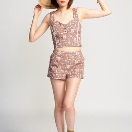 Lucca Couture - Vintage print high waisted shorts