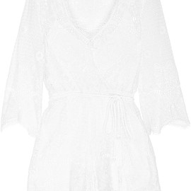 Miguelina - Greta crocheted cotton-lace playsuit