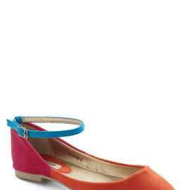 ModCloth - Palette It Be Flat - Orange, Blue, Pink, Solid, Colorblocking, Flat, Casual