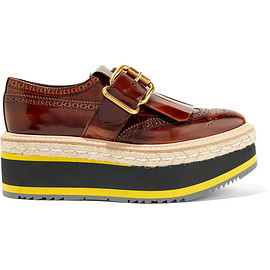 PRADA - Fringed burnished leather platform brogues