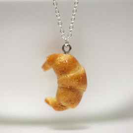 Kawaii Cute Miniature Food Necklaces - Croissant with Sterling Silver Chain