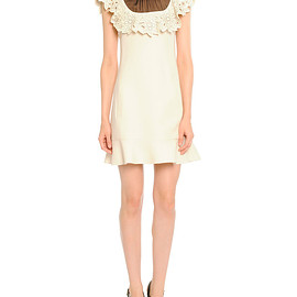 VALENTINO - Sheer-Neck Leather-Trim Dress, Ivory/Black