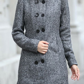Street-chic Stand Collar Shoulder Pads Double Breast Padded Trench Coat
