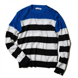 HEAD PORTER PLUS - BORDER KNIT BLUE