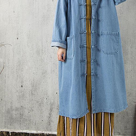 long denim shirt - Light blue long denim shirt Large size long Single breasted gown