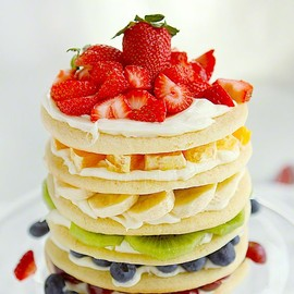 Layered Rainbow of Colorful Fruits Cake