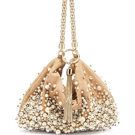 JIMMY CHOO - Callie faux-pearl embellished suede clutch