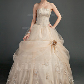 abbuydress - Ball-Gown Strapless Floor-Length Organza Satin Wedding Dress