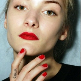 red lipstick and nails