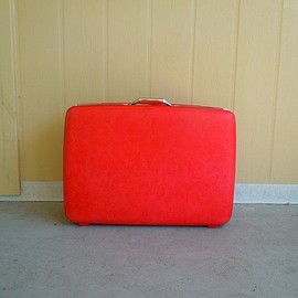 American Tourister - bright red vintage suitcase