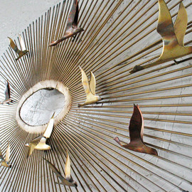 groovygirl60 - Curtis Jere Brass Starburst Wall Sculpture Flying Birds 1970s , Eames Era Metal Wall Sculpture
