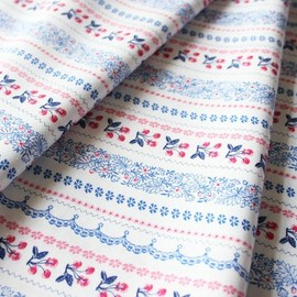 blend fabrics - Vintage Summer Cherry Stripe Navy