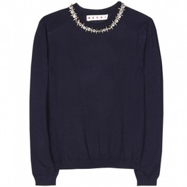 MARNI - CASHMERE PULLOVER WITH EMBELLISHED COLLAR