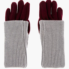 Maison Martin Margiela - MAISON MARTIN MARGIELA Burgundy & Grey Ribbed Layered Gloves