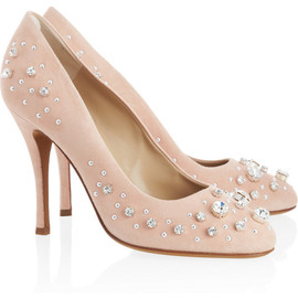 MOSCHINO CHEAP AND CHIC - Crystal-embellished suede pumps
