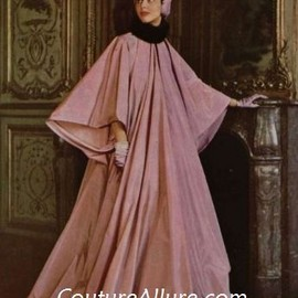 Pink silk faille evening coat by Jacques Fath, 1949.
