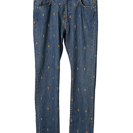 Psychik cross embroidery denim pants-2