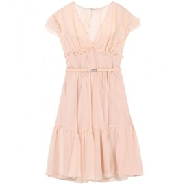 miu miu - SILK-CREPE DRESS WITH RUFFLED TRIM