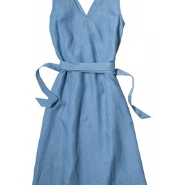 MARGARET HOWELL - SCHOOL TUNIC MELANGE SHIRTING LINEN BLUE