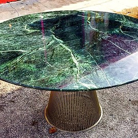 Platner table base with marble