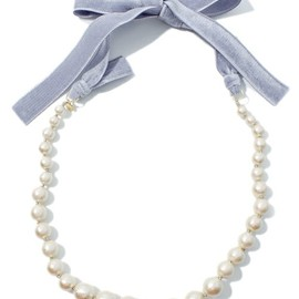 PINCEAU - COTTON PEARL VELVET RIBBON NECKLACE バイオレット