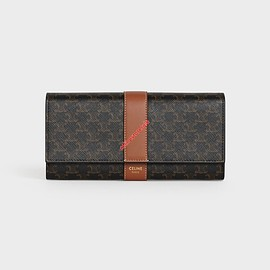 Celine - Celine Large Flap Wallet In Triomphe Canvas And Lambskin Brown