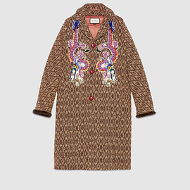 GUCCI - Wool coat with dragon embroidery