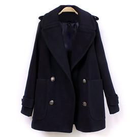 Retro Gorgeous Pure Color Double Breast Lapel Worsted Coat